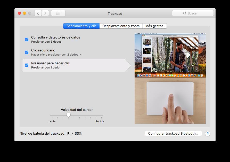 click con un toque en el mouse o touchpad