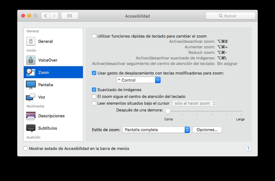 hacer zoom pulsando la tecla control y haciendo scroll con el mouse