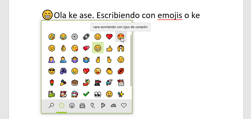 Escribir con emojis en Windows 10
