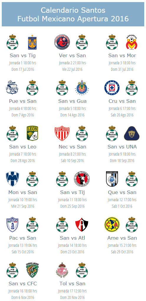 Calendario del futbol mexicano del apertura 2016