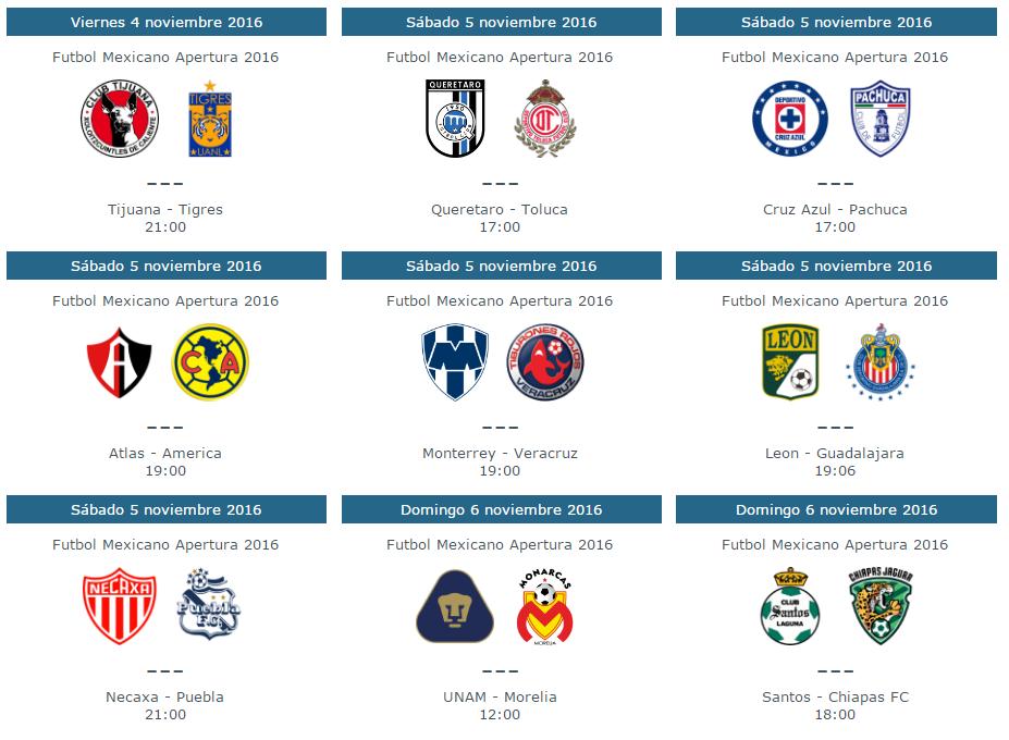 Fechas, horarios y trasmision en vivo de la jornada 16 del futbol mexicano