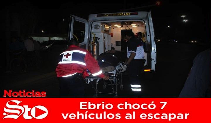 Ebrio chocó 7 vehículos al escapar