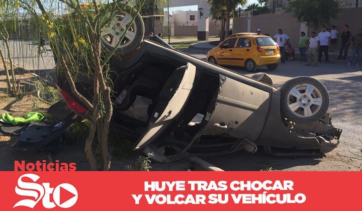 Abandona vehículo tras chochar y volcar en el Torreón 2000