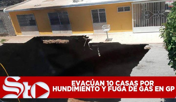 Desalojan 10 casas por hundimiento y fuga de gas en GP