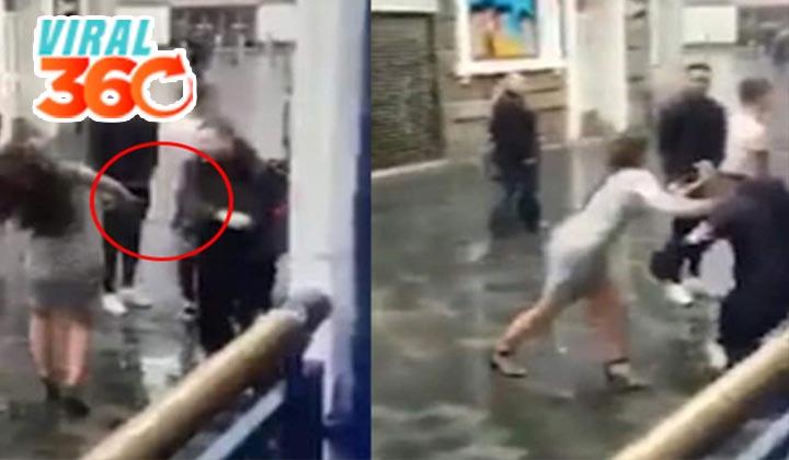 Mujer golpea a cadenero y este responde