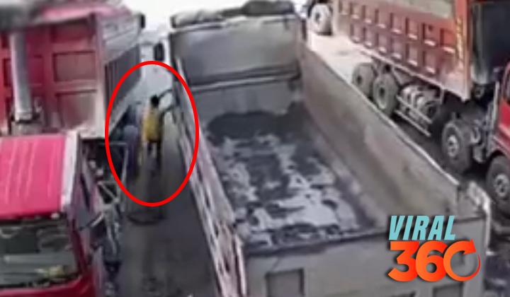 Hombre muere aplastado por dos camiones en China