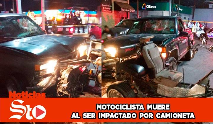 Muere motociclista al ser impactado por una camioneta