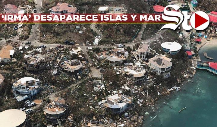 'Irma' desaparece isla y el mar de una playa