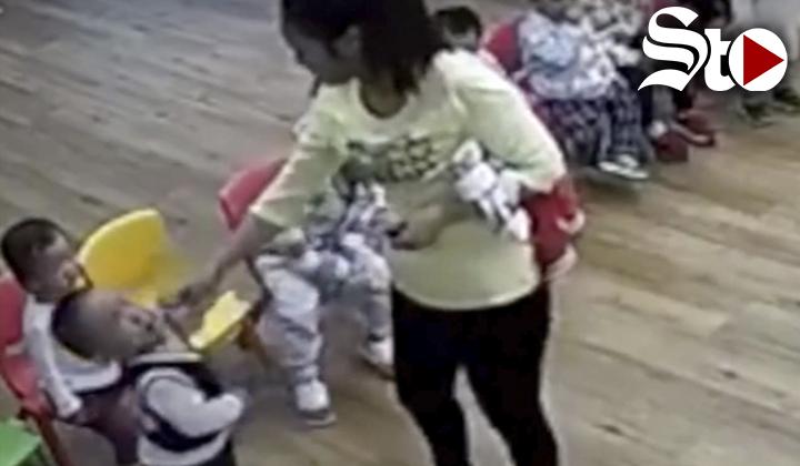Indigna video de maltrato a niños en guardería