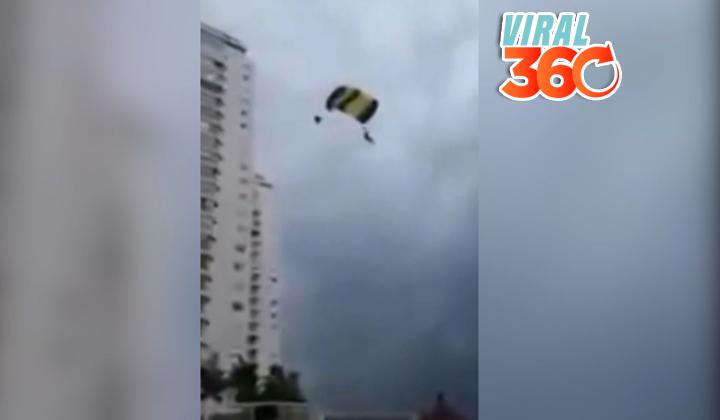 Santa Claus falla al tirarse con un paracaídas de un edificio