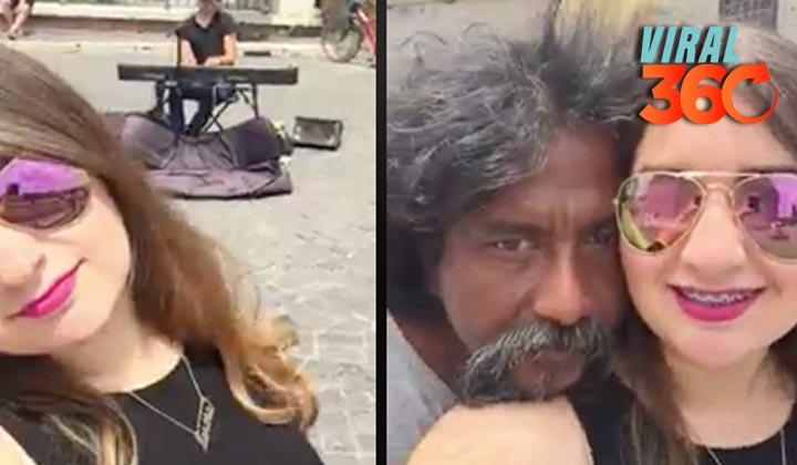 Indigente besa a turista y se hace viral