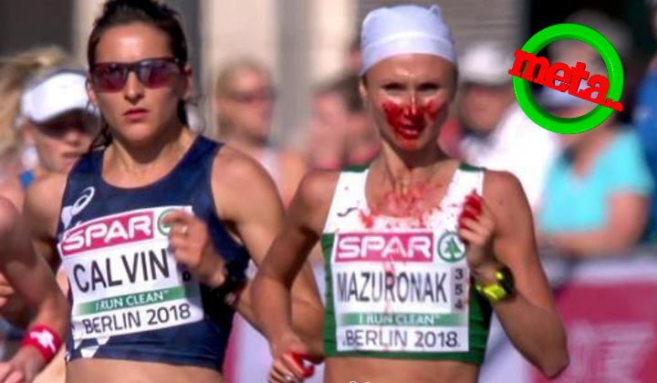 Gana maratón 'bañada' en sangre