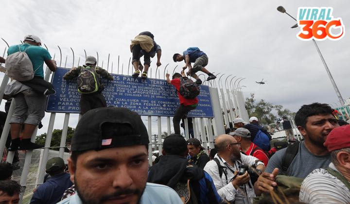 Caravana migrante provoca caos en la frontera de México