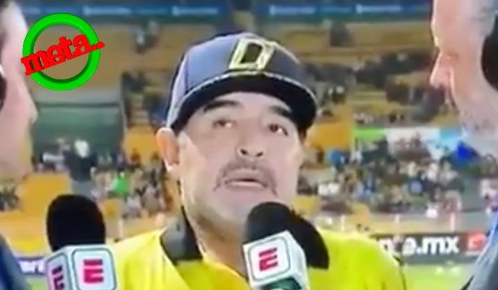 Maradona se traba en plena entrevista en vivo