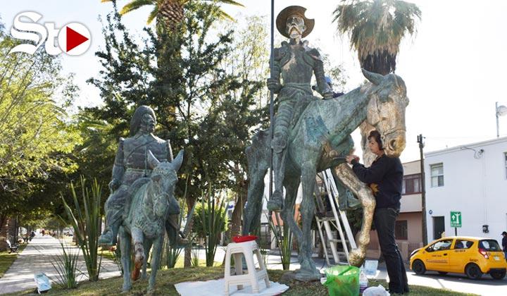 Restauran obra de El Quijote de la calzada Colón