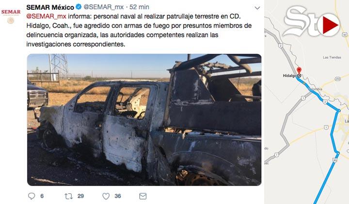 Enfrentamiento deja 3 muertos, entre ellos un marino en Coahuila