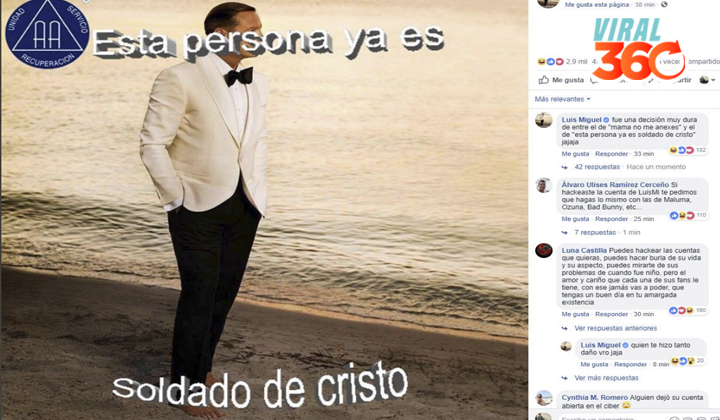 Facebook de Luis Miguel, víctima de 'hackeo'