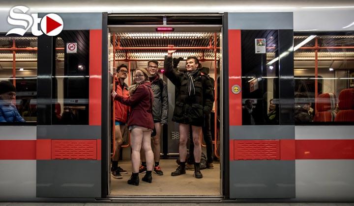 Pese al frío, viajan sin pantalones en el metro de Nueva York