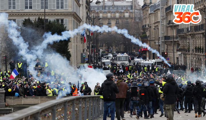 Protestan miles de 'chalecos amarillos' en París