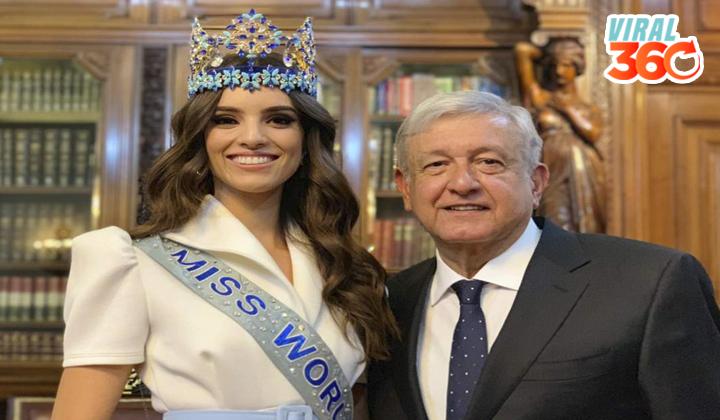 Se reúnen AMLO y Miss Mundo en Palacio Nacional