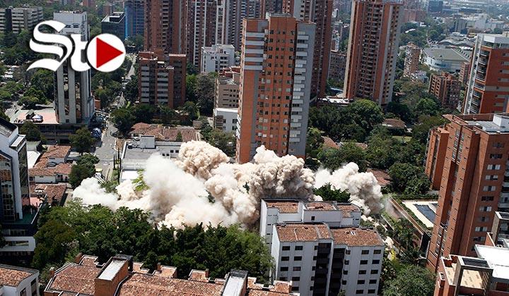 En tres segundos fue demolido el edificio de Pablo Escobar