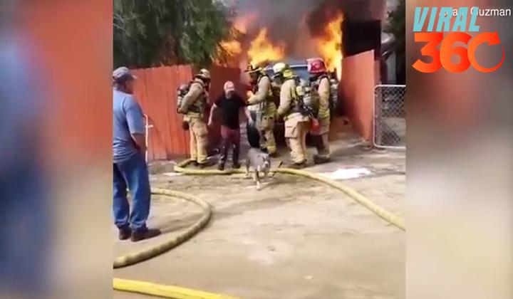 Arriesga su vida e ingresa a incendio para salvar a su perro