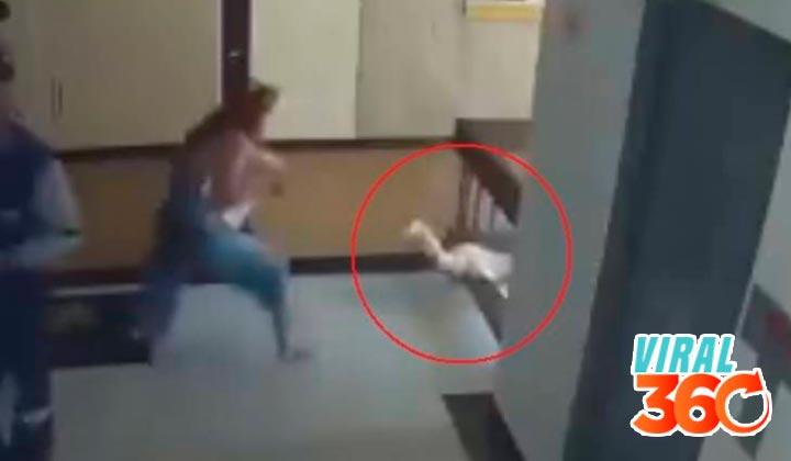 Madre salva por poco a su hijo de caer de edificio