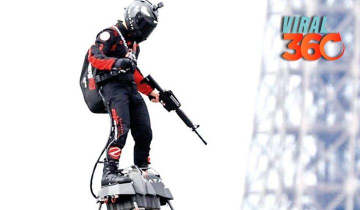 Soldado volador sorprende en desfile de Paris