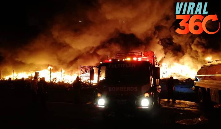 Consume incendio miles de llantas en Tultitlán, Edomex