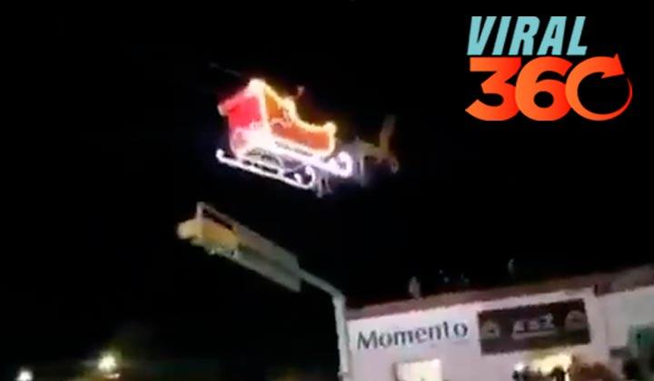 'Santa Claus' sufre un accidente al estrellar su trineo