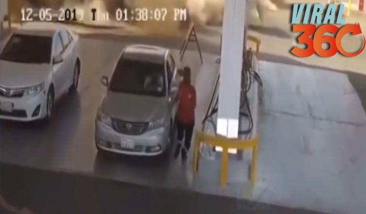 Explosión levanta el suelo de una gasolinera