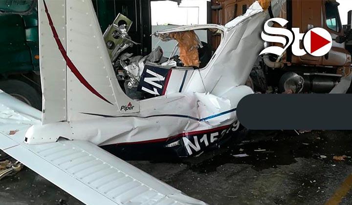Cae avioneta en patio de empresa en Ciénega de Flores