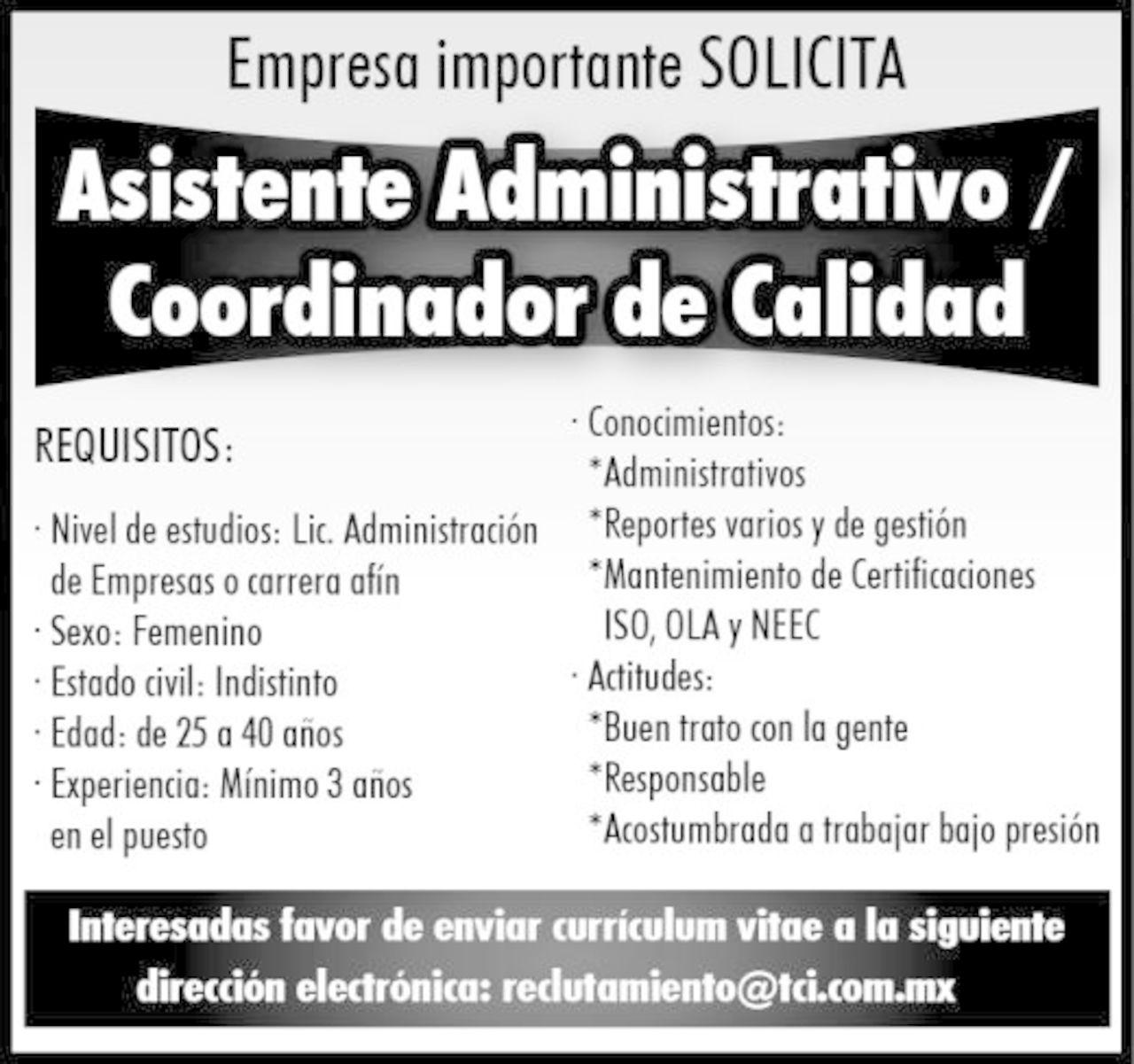 Empleos Asistente Administrativo Torreon Desplegados El Siglo