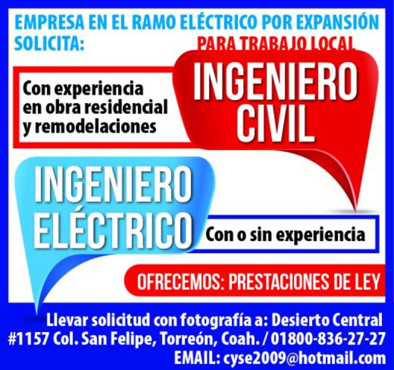 Solicito Ingeniero Civil Ingeniero Electrico Torreon Desplegados