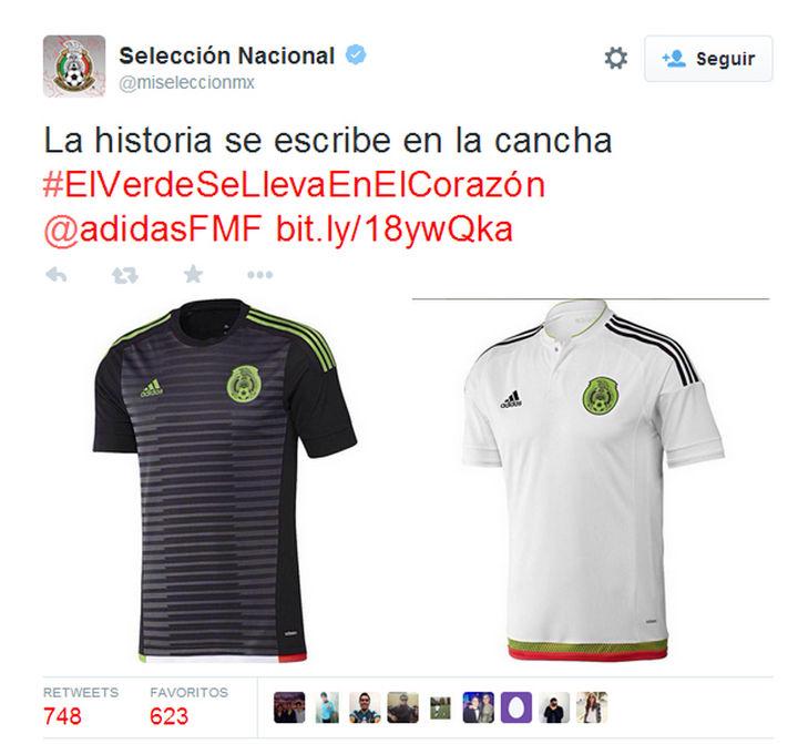 Estos son los dos modelos de uniforme para la Selección Mexicana en 2015  que subió ayer d3dfae99a2427