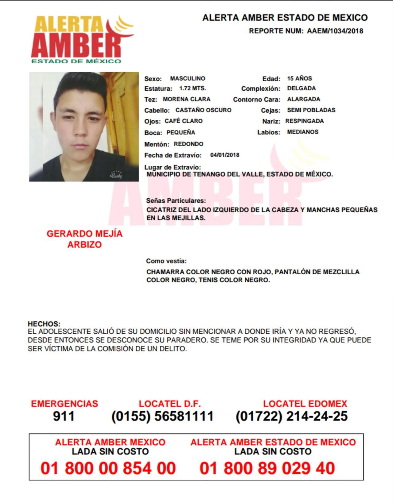 Buscan a Gerardo  Mejía, adolescente desaparecido en Edomex. Noticias en tiempo real