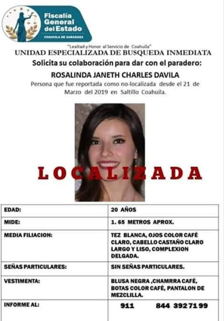 Localizan estudiante reportada como desaparecida en Saltillo