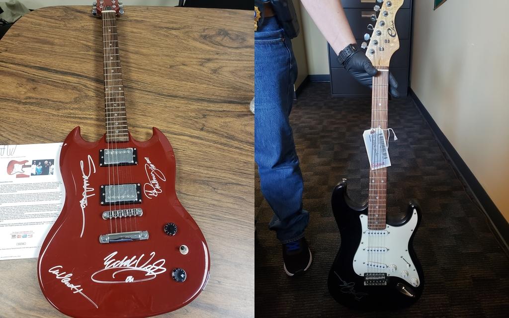 De gran valor. Policía recupera guitarras robadas que estaban firmadas por los músicos Van Halen y Bob Dylan. (ESPECIAL)