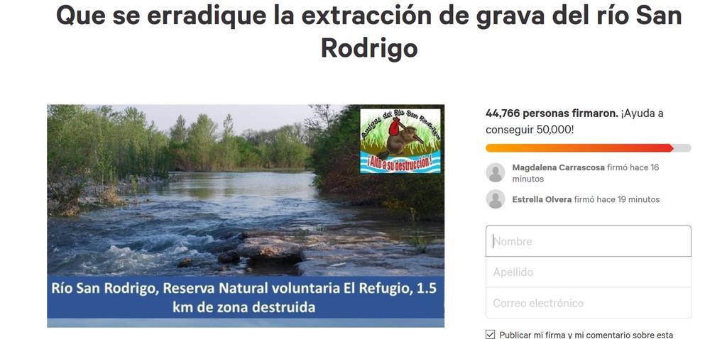 Supera las 44 mil firmas petición para erradicar la extracción de grava del río San Rodrigo. Noticias en tiempo real
