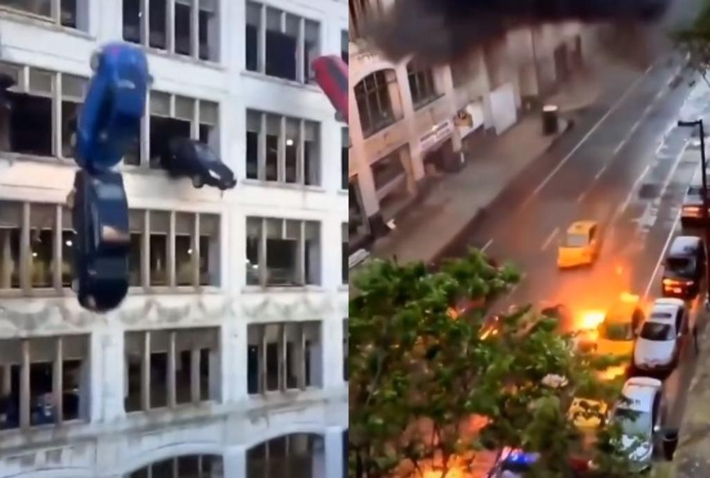 VIRAL: Video de autos cayendo desde un edifico desconcierta en redes