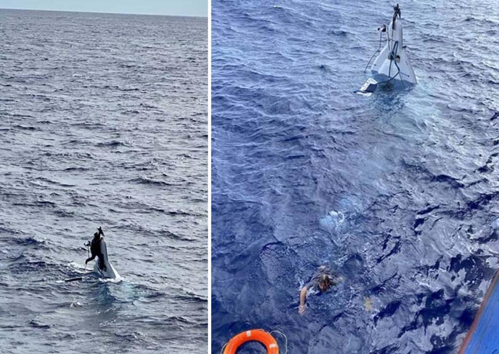 Rescatan a marinero que estaba flotando sobre un pedazo de su barco hundido. Noticias en tiempo real