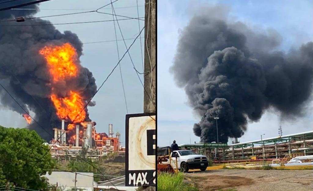 Se registra incendio en refinería de Minatitlán, Veracruz