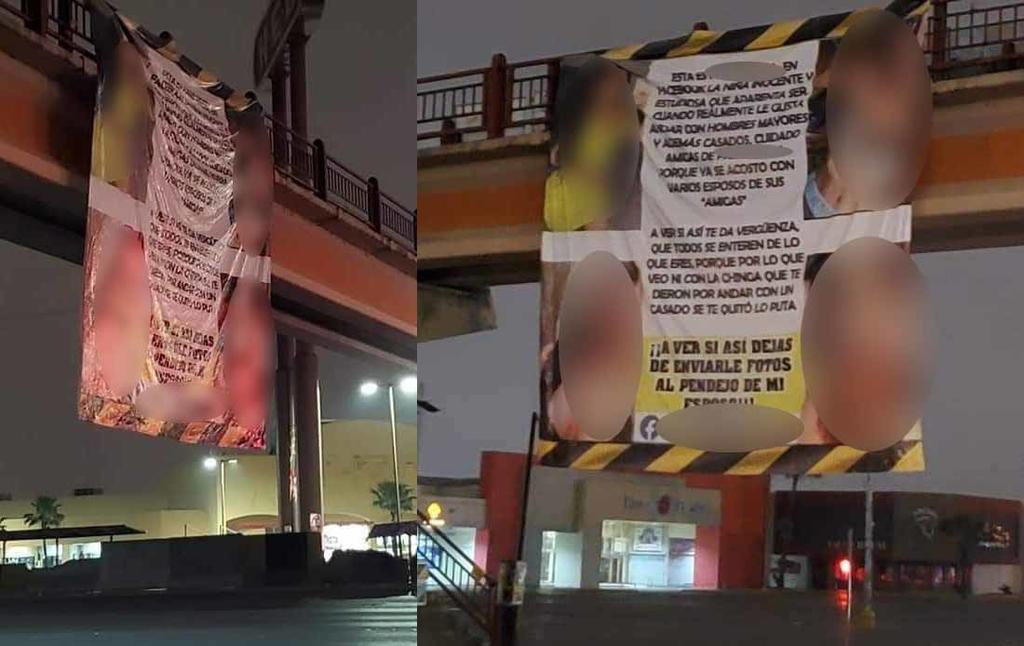 La manta que colgaba de un puente peatonal en Matamoros, presentaba fotografías de la supuesta amante (REDES SOCIALES)